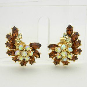 Crown Trifari Topaz Citrine Rhinestone Earrings